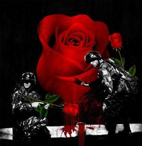 Streetart - Denkstahl Rose